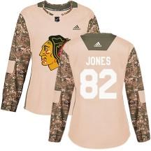 Caleb Jones Chicago Blackhawks Women's Authentic adidas Veterans Day Practice Jersey - Camo
