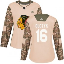 Ed Olczyk Chicago Blackhawks Adidas Women's Authentic Veterans Day Practice Jersey - Camo