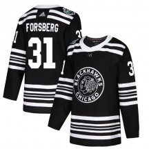 Anton Forsberg Chicago Blackhawks Adidas Youth Authentic 2019 Winter Classic Jersey - Black