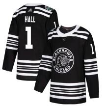 Glenn Hall Chicago Blackhawks Adidas Youth Authentic 2019 Winter Classic Jersey - Black