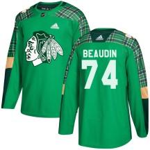 Nicolas Beaudin Chicago Blackhawks Adidas Men's Authentic ized St. Patrick's Day Practice Jersey - Green