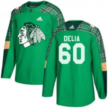 Collin Delia Chicago Blackhawks Adidas Men's Authentic St. Patrick's Day Practice Jersey - Green