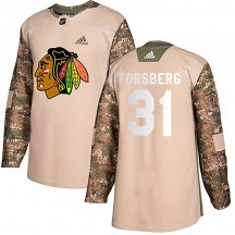 Anton Forsberg Chicago Blackhawks Adidas Youth Authentic Veterans Day Practice Jersey - Camo