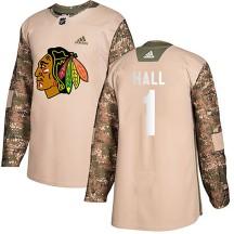 Glenn Hall Chicago Blackhawks Adidas Youth Authentic Veterans Day Practice Jersey - Camo