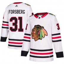 Anton Forsberg Chicago Blackhawks Adidas Men's Authentic Away Jersey - White