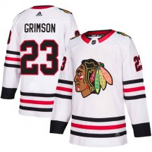Stu Grimson Chicago Blackhawks Adidas Men's Authentic Away Jersey - White