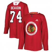 Nicolas Beaudin Chicago Blackhawks Adidas Youth Authentic ized Home Practice Jersey - Red