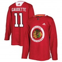 Adam Gaudette Chicago Blackhawks Adidas Youth Authentic Home Practice Jersey - Red