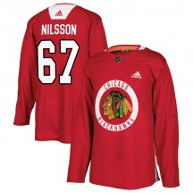 Jacob Nilsson Chicago Blackhawks Adidas Youth Authentic Home Practice Jersey - Red
