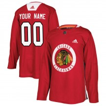 Custom Chicago Blackhawks Adidas Men's Authentic Home Practice Jersey - Red
