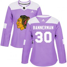 Murray Bannerman Chicago Blackhawks Adidas Women's Authentic Fights Cancer Practice Jersey - Purple