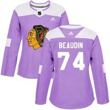 Nicolas Beaudin Chicago Blackhawks Adidas Women's Authentic ized Fights Cancer Practice Jersey - Purple