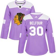 ED Belfour Chicago Blackhawks Adidas Women's Authentic Fights Cancer Practice Jersey - Purple