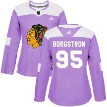 Henrik Borgstrom Chicago Blackhawks Adidas Women's Authentic Fights Cancer Practice Jersey - Purple