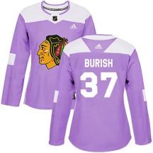 Adam Burish Chicago Blackhawks Adidas Women's Authentic Fights Cancer Practice Jersey - Purple
