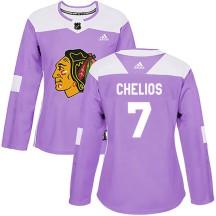 Chris Chelios Chicago Blackhawks Adidas Women's Authentic Fights Cancer Practice Jersey - Purple