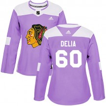 Collin Delia Chicago Blackhawks Adidas Women's Authentic Fights Cancer Practice Jersey - Purple