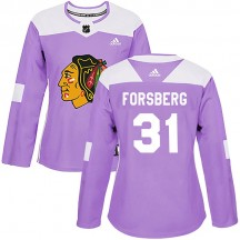 Anton Forsberg Chicago Blackhawks Adidas Women's Authentic Fights Cancer Practice Jersey - Purple