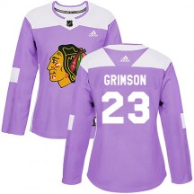Stu Grimson Chicago Blackhawks Adidas Women's Authentic Fights Cancer Practice Jersey - Purple