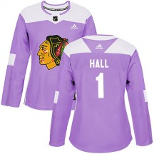 Glenn Hall Chicago Blackhawks Adidas Women's Authentic Fights Cancer Practice Jersey - Purple