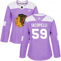 Matt Iacopelli Chicago Blackhawks Adidas Women's Authentic Fights Cancer Practice Jersey - Purple