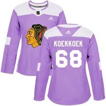 Slater Koekkoek Chicago Blackhawks Adidas Women's Authentic Fights Cancer Practice Jersey - Purple