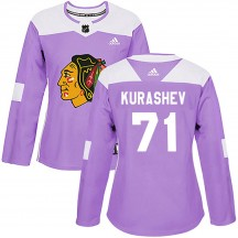 Philipp Kurashev Chicago Blackhawks Adidas Women's Authentic ized Fights Cancer Practice Jersey - Purple