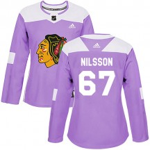 Jacob Nilsson Chicago Blackhawks Adidas Women's Authentic Fights Cancer Practice Jersey - Purple