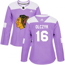 Ed Olczyk Chicago Blackhawks Adidas Women's Authentic Fights Cancer Practice Jersey - Purple