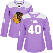 Darren Pang Chicago Blackhawks Adidas Women's Authentic Fights Cancer Practice Jersey - Purple