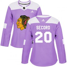 Al Secord Chicago Blackhawks Adidas Women's Authentic Fights Cancer Practice Jersey - Purple