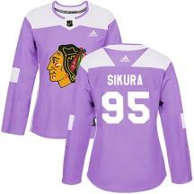 Dylan Sikura Chicago Blackhawks Adidas Women's Authentic Fights Cancer Practice Jersey - Purple