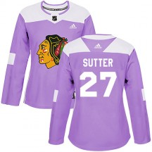 Darryl Sutter Chicago Blackhawks Adidas Women's Authentic Fights Cancer Practice Jersey - Purple