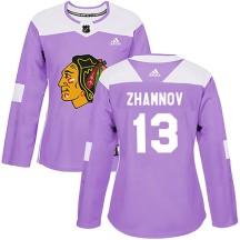 Alex Zhamnov Chicago Blackhawks Adidas Women's Authentic Fights Cancer Practice Jersey - Purple