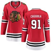 Drake Caggiula Chicago Blackhawks Fanatics Branded Women's Breakaway Home Jersey - Red