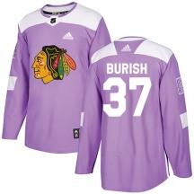 Adam Burish Chicago Blackhawks Adidas Men's Authentic Fights Cancer Practice Jersey - Purple