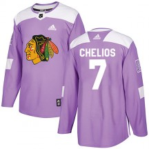 Chris Chelios Chicago Blackhawks Adidas Men's Authentic Fights Cancer Practice Jersey - Purple