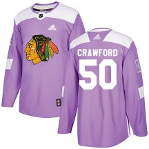 Corey Crawford Chicago Blackhawks Adidas Men's Authentic Fights Cancer Practice Jersey - Purple