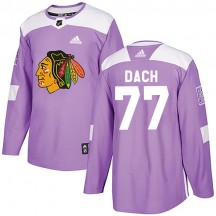 Kirby Dach Chicago Blackhawks Adidas Men's Authentic Fights Cancer Practice Jersey - Purple