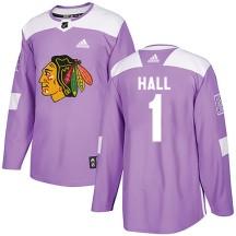 Glenn Hall Chicago Blackhawks Adidas Men's Authentic Fights Cancer Practice Jersey - Purple