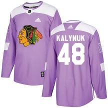 Wyatt Kalynuk Chicago Blackhawks Adidas Men's Authentic Fights Cancer Practice Jersey - Purple