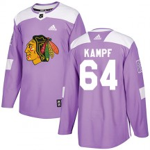 David Kampf Chicago Blackhawks Adidas Men's Authentic Fights Cancer Practice Jersey - Purple