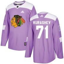 Philipp Kurashev Chicago Blackhawks Adidas Men's Authentic ized Fights Cancer Practice Jersey - Purple