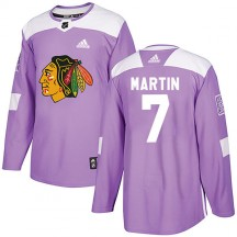 Pit Martin Chicago Blackhawks Adidas Men's Authentic Fights Cancer Practice Jersey - Purple