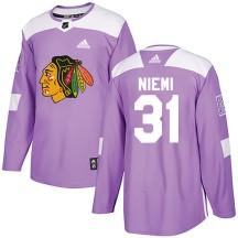 Antti Niemi Chicago Blackhawks Adidas Men's Authentic Fights Cancer Practice Jersey - Purple