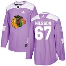 Jacob Nilsson Chicago Blackhawks Adidas Men's Authentic Fights Cancer Practice Jersey - Purple