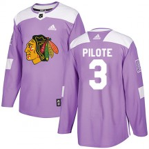 Pierre Pilote Chicago Blackhawks Adidas Men's Authentic Fights Cancer Practice Jersey - Purple