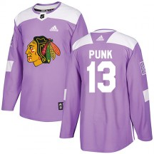 CM Punk Chicago Blackhawks Adidas Men's Authentic Fights Cancer Practice Jersey - Purple