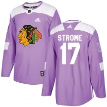 Dylan Strome Chicago Blackhawks Adidas Men's Authentic Fights Cancer Practice Jersey - Purple