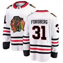 Anton Forsberg Chicago Blackhawks Fanatics Branded Youth Breakaway Away Jersey - White